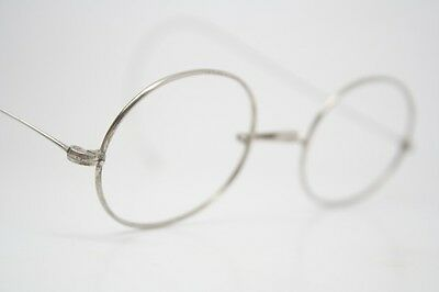 Antique Eye Glasses Silver Tone Oval Wire Rim Riding Temple Vintage Frames 1402