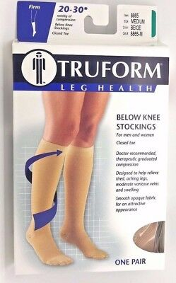 Truform Closed Toe, Knee High 20-30 mmHg Compression Stockings, Beige, Medium