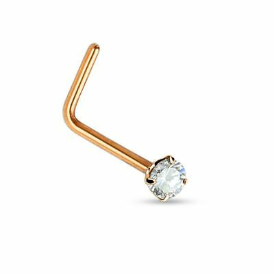 Piercing nez tige L or rose strass
