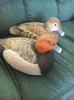 Pair Of Hand-Carved RED HEAD DUCK DECOYS! Beautiful! Realistic! FREE SHIPPING!