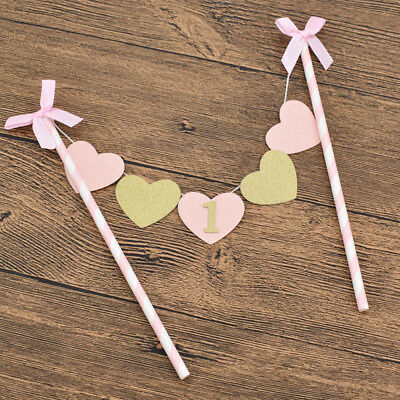 One Year Old Baby 1st Birthday Cake Topper Flag Banner Party Supply Decoration