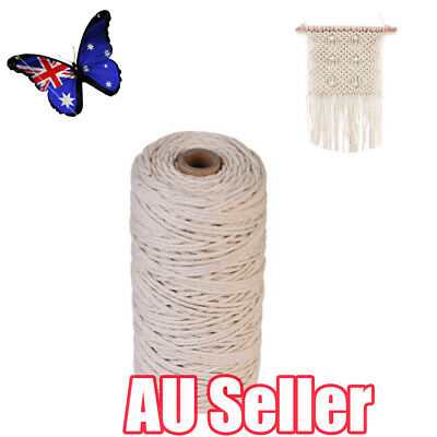3mm 100% Natural Beige Cotton Twisted Cord Craft Macrame Artisan String BO