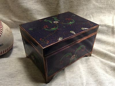 ViNTAGE CHINESE CLOISONNE BLUE ENAMEL & BRASS BOX w/ HINGED LID - HIGH QUALITY