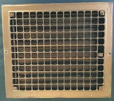 "Vintage Stamped Steel Floor Heat Grate Register Vent Old Hardware 14"" x 16"" HQ"