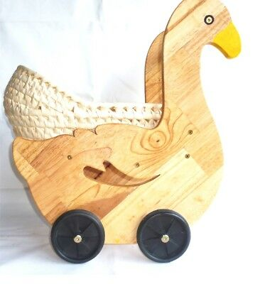 Duckling Wooden Doll Pram | Natural Wood | Animal | White Basket Bassinet