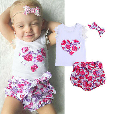 AU Stock Floral Toddler Kid Baby Girls T-shirt Tops+Shorts Pants Outfits Clothes
