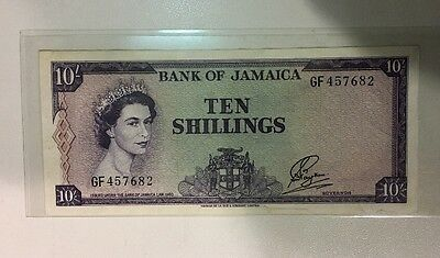 *1960 JAMAICA, BANK OF JAMAICA 10 SHILLINGS Excellent Condition!
