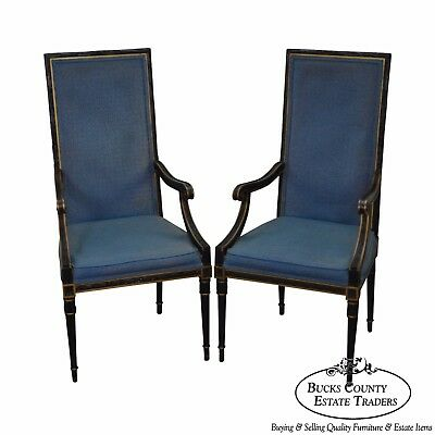 Karges Pair of Vintage Black French Louis XVI Style Arm Chairs