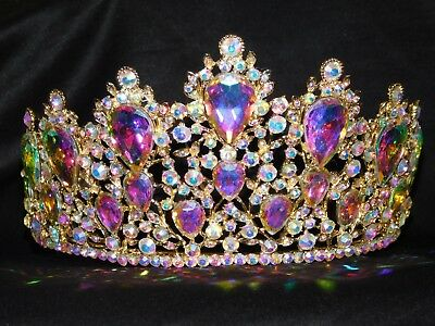 Ab Iridescent Rhinestone Crystal Beauty Queen Large Tiara Crown Bridal Pageant *