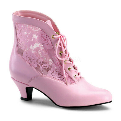 Victorian Steampunk Bridal Pioneer Witch Burlesque Ankle Pink Lace Boots