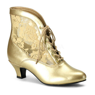 Victorian Steampunk Bridal Pioneer Witch Burlesque Ankle Gold Lace Boots