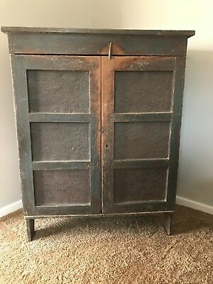 1800s Primitive Blue/Grey Antique Pie Safe
