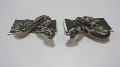 "Cadbury Yowies AU Series 1 ""Carpet Python"" Variation Pair + Intact Papers"