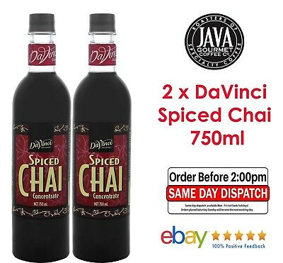 2 x Spiced Chai Coffee Flavouring Syrup Davinci Gourmet 750ml Bottles Cafe Gift