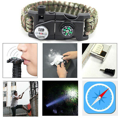 Outdoor Survival Paracord Bracelet LED Flint Fire Starter Compass Whistle Rope