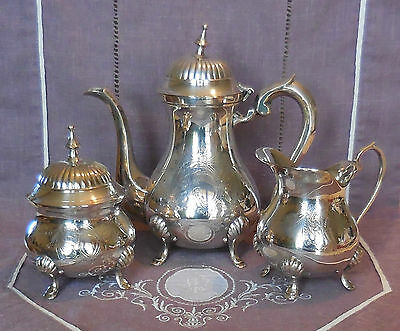 Ancien Service A The 3 Pieces En Metal Argente - F. Frionnet - Modele Rocaille