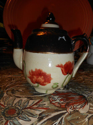 Vintage teapot Blue & gold with anemones