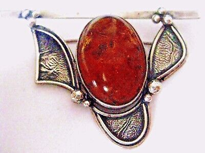 Antique Sterling Silver Art Nouveau HUGE Pebbled Amber 18.3g Brooch stamp/box