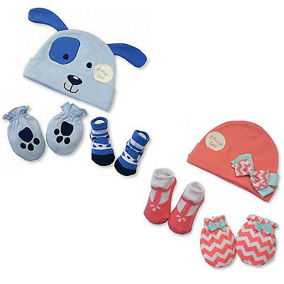 3 Piece Baby Boys Girls Hat Socks and Mitten Set In One Pack 0-6 Months 2516-068