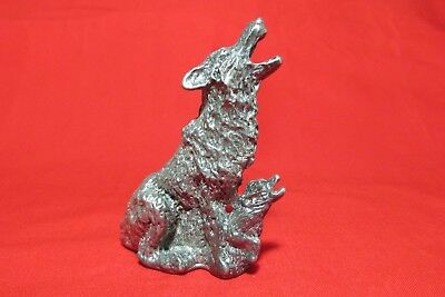 Pewter  Coyote With Pup Figurine