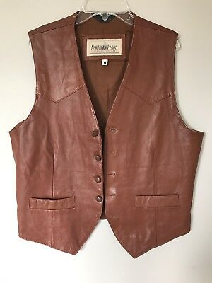Vintage Leather Vest, Brown, Medium, AWESOME!! 1960s, 1970s, Hippie, Costume
