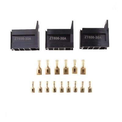 3 Sets Car 30A 5-Pin Relay Socket Holders With 4.8mm+ 6.3mm Copper Terminals