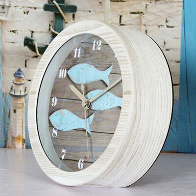 Wooden Non-ticking Classic Clock Cute Pattern Bedside Desktop Alarm Clock #7