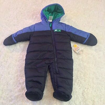 Just One You Made by Carters Baby Boy Snowsuit 6 To 9 Months Zip Up Blue Green