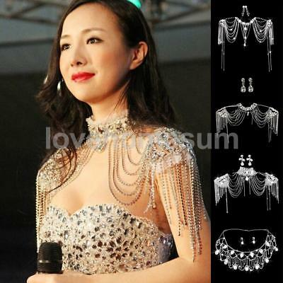 Wedding Bridal Crystal Rhinestone Pearl Shoulder Body Chain Necklace Jewelry