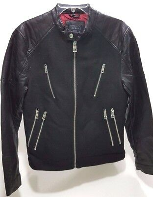 Guess Laminated Wool Bomber Jacket jet black size L
