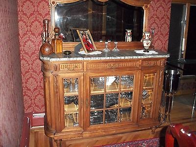 Antique SIDEBOARD-HUTCH-BUFFET c1800 Handcarved Cherry Wood Beveled Mirror/Glass