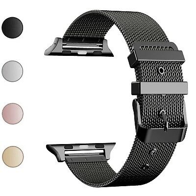 Milanese Loop For Apple Watch Strap 42m Black Stainless Steel Buckle iWatch 38mm