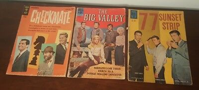 Lot Of(3) Vintage Gold Key Dell Comic Books 77 Sunset Strip Big Valley Checkmate
