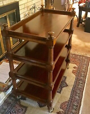Beautiful Antique English Mahogany Trolly on brass Casters.