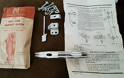 Vintage Chrome with White Lines Cabinet Catch National Lock Company #N61-308 NOS