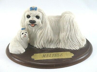 White Maltese Dog Mom and Pup Figurines on Wood Stand with Bronze Plaque