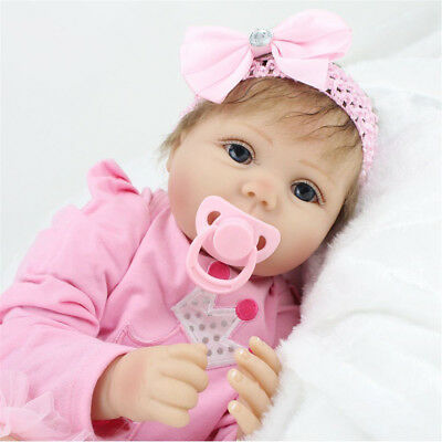 "22""Handmade Lifelike Girl Doll Silicone Vinyl Reborn Newborn Dolls+Clothes"