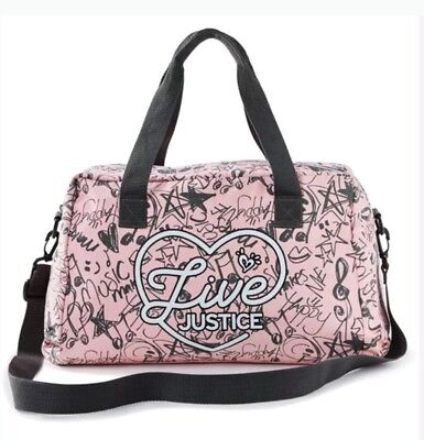 NWT Justice Girl's 'LIVE JUSTICE' Duffle Bag Overnight Travel Dance Sports Pink