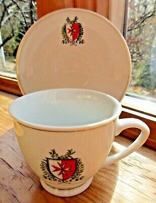 Vintage Maltese Cross Malta Shield Cup & Saucer Knights Templar Emblem Gold Trim