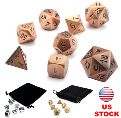 7Pcs Set Antique Copper Color Solid Metal Polyhedral Dice Role Playing RPG W Bag