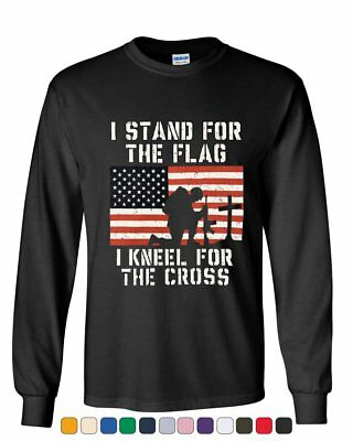 I Stand for the Flag I Kneel for the Cross Long Sleeve Tee Patriot