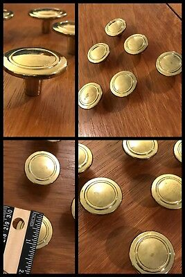 6 Knobs Pulls Round Brass Tone Cabinet Drawer Swirls Old Retro Vintage
