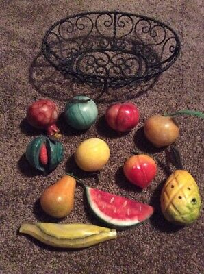 Vintage Alabaster Fruit 11 pc Lot Carved Marble Stone Pear Peach Apple Banana
