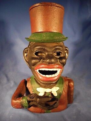 Cast Iron Mechanical Bank Black America Jolly Top Hat Vintage Reproduction NICE!