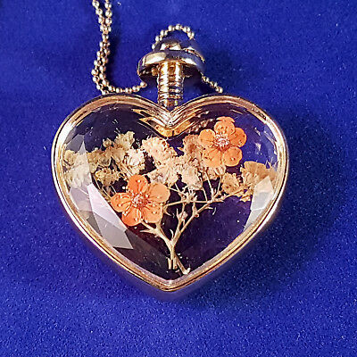 Real Dried Flower Heart Glass Necklace Pendant Gift