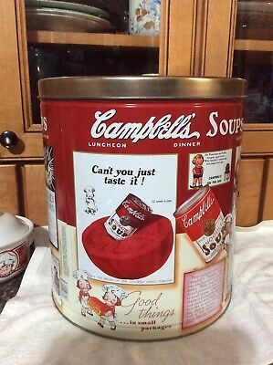 Vintage Campbell's Soup Large Popcorn Tin Metal Can 1991 Canister Room Decor