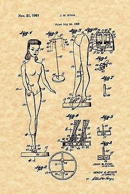 Patent Print - Vintage Barbie Doll 1959 Art Print. Ready To Be Framed!