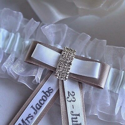 Personalised White Wedding Garters. Diamante/choice Of Trim Colour. Gift Boxed