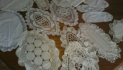 Bulk Lot of 18 Vintage Crochet and Embroidered Doilies - All Oval- Mixed Sizes
