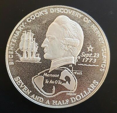 1973 Cook Islands. 7 1/2 Dollars..  Silver - PROOF.....